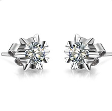 18K Jewelry Earrings Snowflake Design 0.5CT/Piece SONA Diamond Earring Stud for Women Engagement Gift Female Accessory(China)