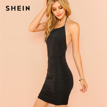 Buy SHEIN Black Self Tie Halter Ruched Dress Sexy Sleeveless Bodycon Backless Dresses Women Summer Solid Slim Mini Dresses