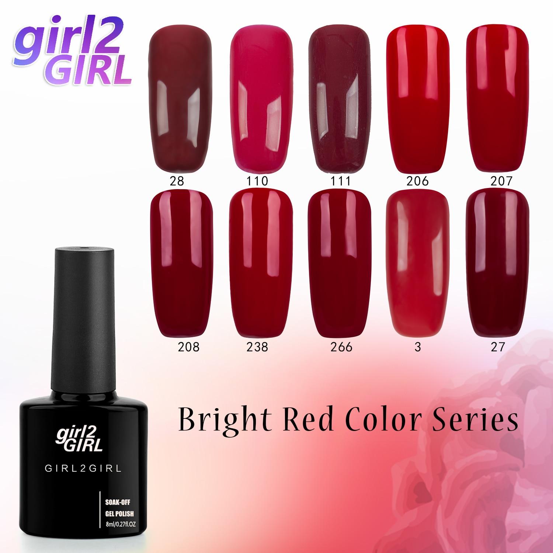 girl2Girl UV Gel Nail Manicure 8ml pure color UV Nail Polish Sequins Gel Nail Soak Off Gel Polish Dark red set