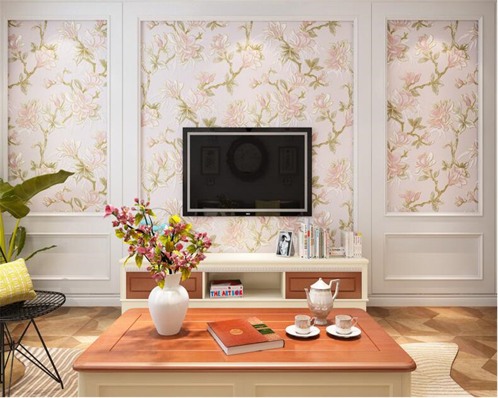beibehang Stereo Wallpaper Pastoral Big Flower Country Living Room Backdrop Nonwoven 3d Wallpaper Bedroom Wedding Room tapety <br>
