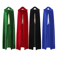 Adult Witch Long Purple Green Red Black blue Halloween Cloak Hood and Cape robe  Halloween cosplay Costumes Free shipping