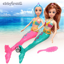 Abbyfrank 33cm Moveable Joint Waist Swing Moxie Doll Mermaid Dolls 3D Eye Swimming Wig For Mermaid Toys Child Dream Stuffed