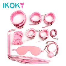 Buy IKOKY 8 pcs/set Adult Games Leather Bondage Sex Kits Set Hand Cuffs Whip Rope Mask Fetish Restraints SM married couples