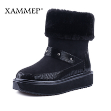 XAMMEP Women's Winter Shoes High Heeled Cow Suede Leather Ankle Boots Big Size High Quality Brand Women Shoes