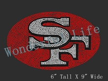 Free shipping San Francisco 49ers Logo Inspired Fan Art Iron On Transfer Rhinestones design red with black with white