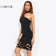 Buy COLROVIE Geo Cut Choker Club Dress 2017 Women Black Sexy One Shoulder Summer Party Dress Sleeveless Elegant Bodycon Midi Dress for $11.99 in AliExpress store