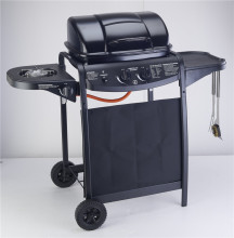 Enamel gas BBQ grill, gas stove,gas oven,outdoor BBQ grill with motor,two burners BBQ grill