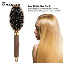 Portable Non-slip Hair Scalp Massage Comb Hairbrush Anti-static Boar Bristle Hair Brush Salon Hairdressing Comb Styling Tool