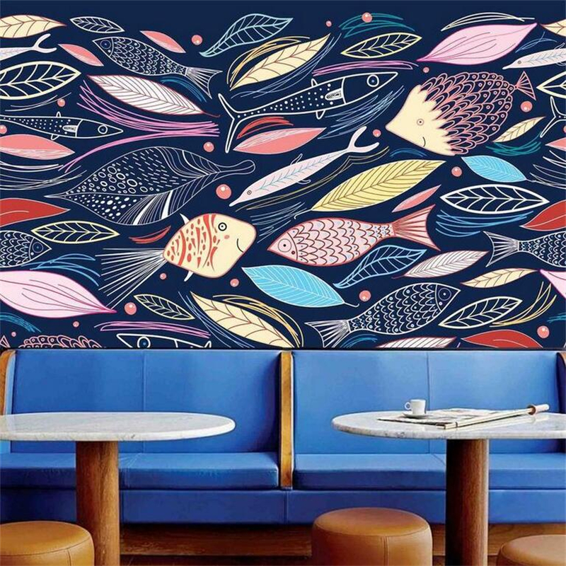 Abstract Art Wallpapers Photo Murals Painted Cartoon Wallpaper Roll Fish Leaves Wallpapers for Living Room Childrens Room Bar  <br>