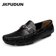 JKPUDUN British Style Mens Driving Shoes Luxury Brand Penny Loafers Designer Boat Shoes Men High Quality Black Big Size 38-50(China)