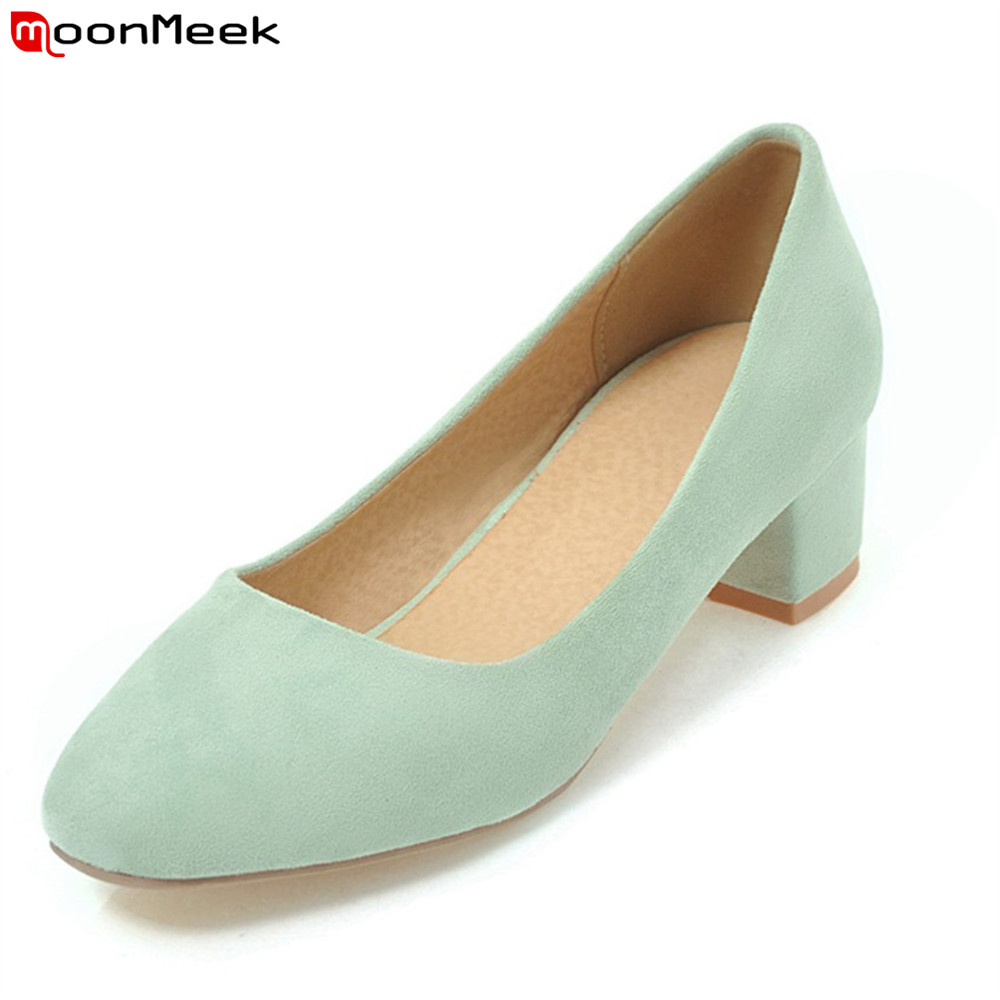 MoonMeek new 2018 mature ladies shoes med heels simple round toe square heel slip on wedding party shoes woman pumps<br>