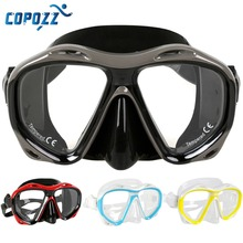 Copozz Brand Professional Diving Mask Scuba Free Diving Snorkeling Mask Flexible Silicone Large Frame glasses(China)