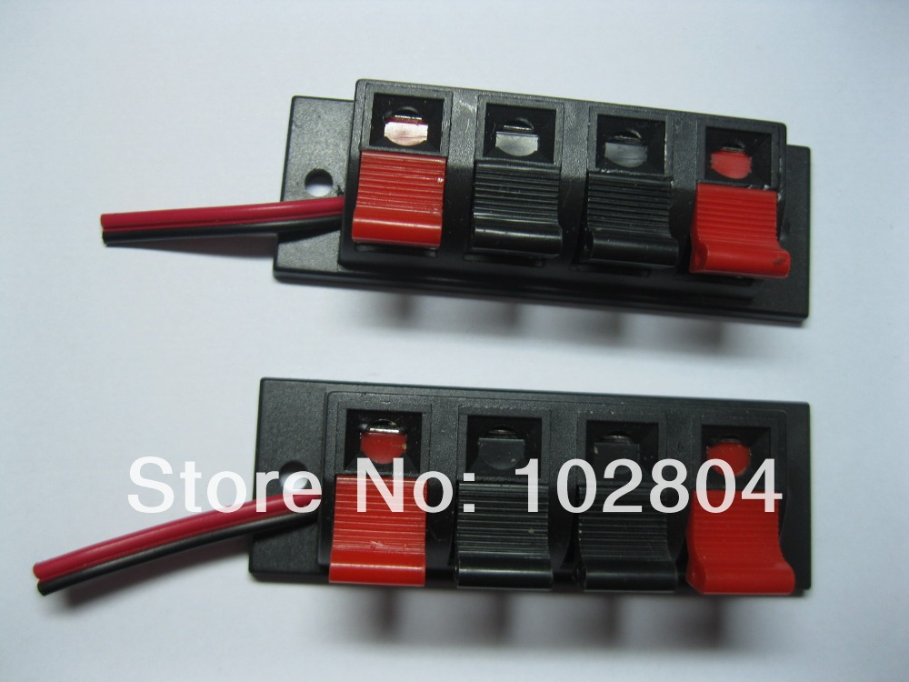 6 pcs Speaker Terminal Board Connector Spring Loaded 4-Way With Soldered Wire(China (Mainland))