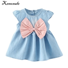 2017 new design style baby mini children summer wear short sleeved dress fashion party baby toddler girl pure Minnie cuff(China)