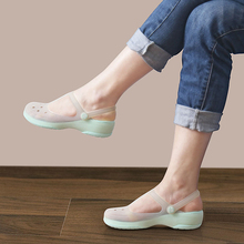 Summer Women Mules Clogs Summer Beach Breathable Slippers Woman's Sandals Jelly Shoes Cute Discolor Garden Shoes Clog For Woman(China)