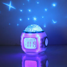 Drop Shipping Best Gift Mini Music Starry Alarm Projection Clock Star Sky Calendar Thermometer with Retail Package