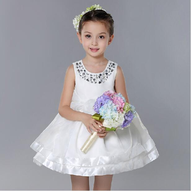 New 2017 Kids White Flower Girl Dresses For Girls Fashion Formal Princess Birthday Sleeveless Vestidos Girls Clothes SKF154001<br>