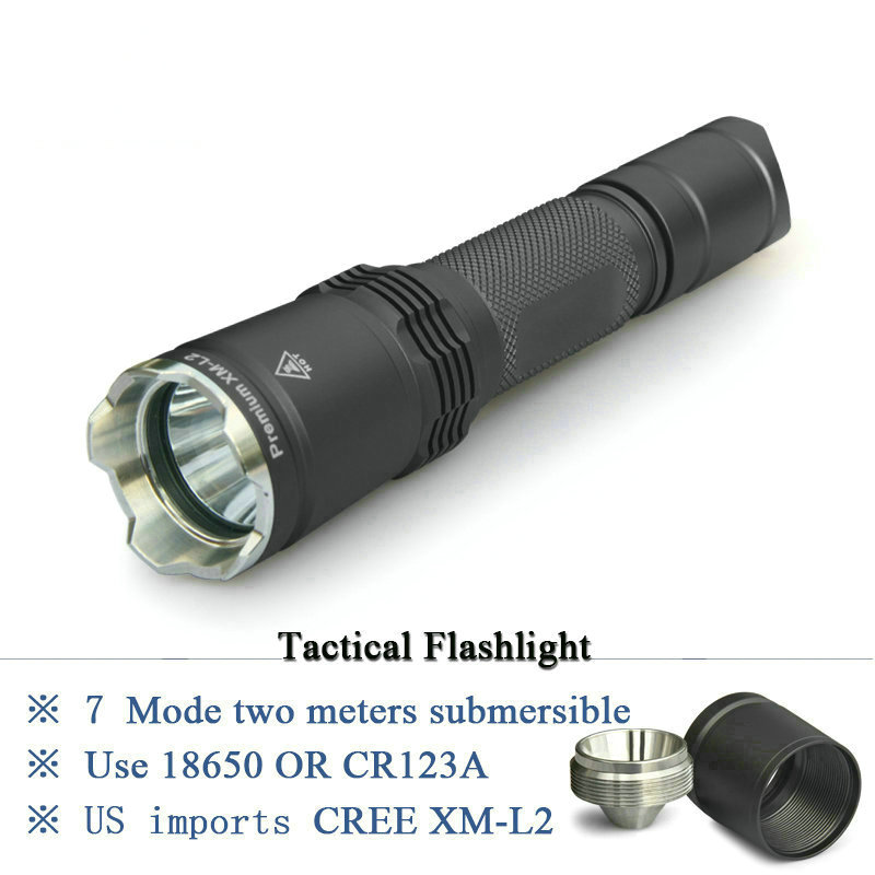 2017 NEW lanterna tactical cree xm-l2 7 mode rechargeable 18650 flashlight led waterproof high power torch for military lamp<br>
