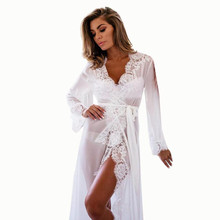 Women Sexy Gauze Lace Night Gown Long Sleeve Nightdress Lace Sleep Dress V-neck Nighties Night Shirt Fashion Sleepwear Nightwear(China)
