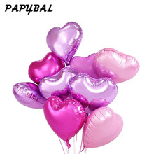 10pcs 18inch Romantic heart Pearl Purple Pink Foil Balloons helium wedding i Love You Globos Party Decor pure color balls(China)