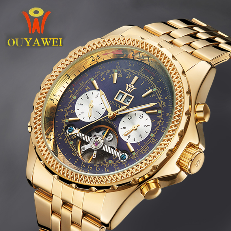 Mechanical Automatic Gold Watch Men Luxury Brand OUYAWEI Tourbillon Male Wrist Watch Stainless Steel Business Black Wristwatches<br>