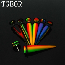 New arrive Hot wholesale piercing body jewelry 20pcs 8mm reggae rasta colors illusion cheaters UV Acrylic ear Fake Taper