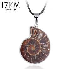 17KM 2016 Fashion Natural Stone Snails Pendant Necklace Charm Sea Slide Seashell Necklace Women Statement Accessories(China)