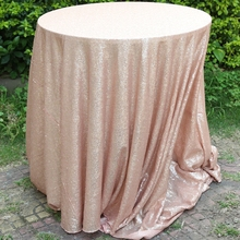 Champagne Sequin Tablecloth 90 Inches Round Sequin Table Cloth Wholesale Sequin Tablecloth Wedding(China)