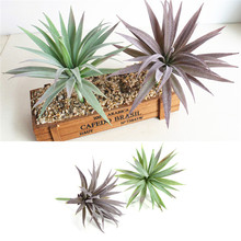 Artificial Flocked Plants Grass Craft Plastic Fake Succulents Plants Artificials Corner Grass Flower Succulent Leaves Home Decor(China)