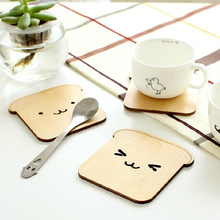 New Wooden Adorable Cute Happy Dog Toast Drink Cup Thermal Insulation Mat Pad Coaster Placemat Kitchen Accessories Drop Shipping