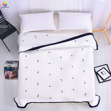 Home textile white star moon quilt Summer comforter patchwork 150*200cm 200*230cm blue pink blanket thin comforter queen king