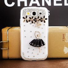 Black skirt girl rhinestone mobile phone case for Samsung Galaxy S3 I9300
