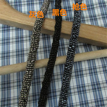 New Arrival 3Yards 1cm Beading Lace Trims Thread Trimming Black/grey/gun black Lace Trim for Garment(China)