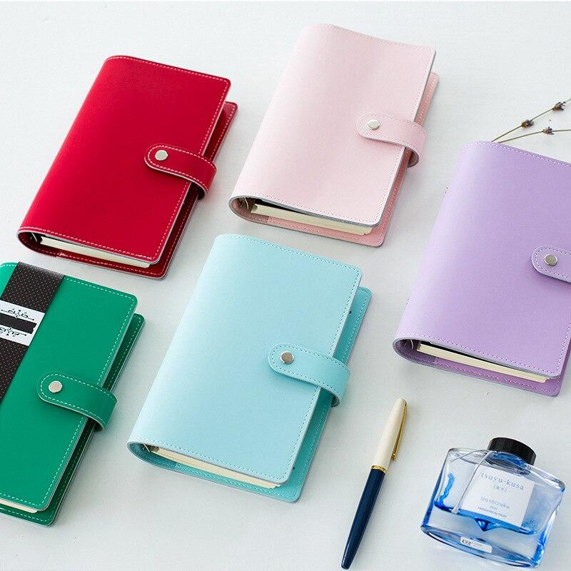 Korean Kawaii Macaroon Personal Organizer Regenerated Leather Business Office Binder Notebook Agenda Planner Travel Journal A6<br><br>Aliexpress