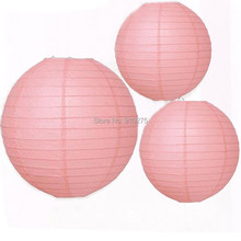 12 pcs/lot Mixed 2 Sizes Pink Chinese Paper Lanterns Wedding Party Decoration Holiday Supplies(China)
