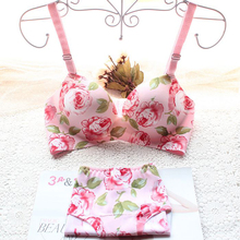 Drop shipping printing flower one piece seamless bra set young girl's underwear women's bra and panty Wholesale&retail(China)