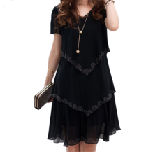 Buy 5XL Plus Size Women Clothing 2017 Chiffon Dress Summer Dresses Party Short Sleeve Casual Vestido De Festa Blue Black Robe Femme for $11.90 in AliExpress store