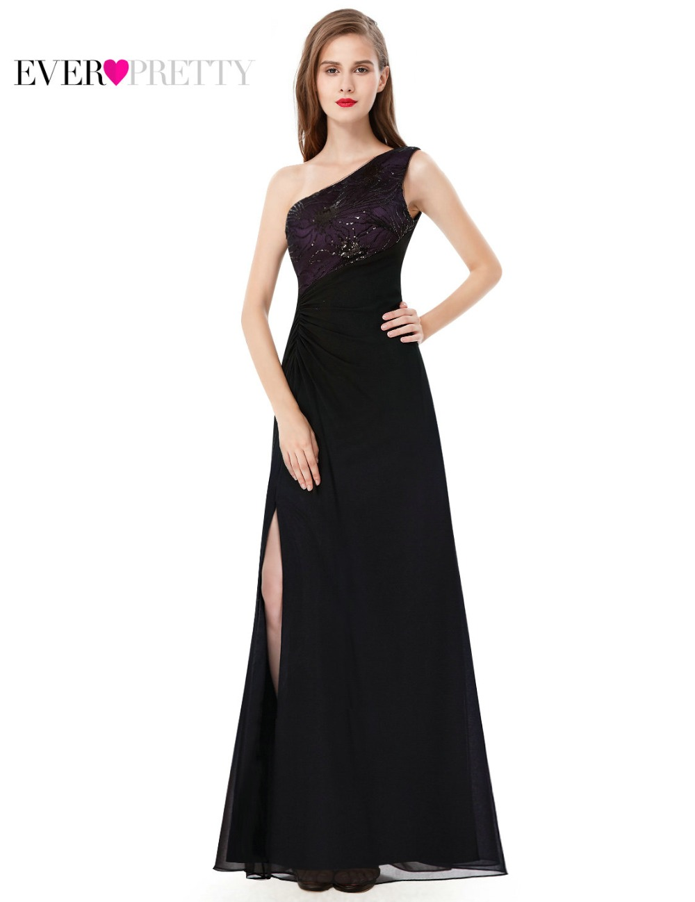 Sequined Chiffon Prom Dress Ever Pretty HE08590 Elegant Black One Shoulder Floor Length Long Prom Gown Dresses(China (Mainland))