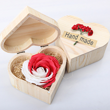 Happy New Year Gifts Creative Hand Make Rose Valentine's Gifts Soap Rose In Wooden Box for Bathroom Decor(China)