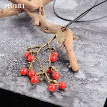 Retro Long Necklace Women New Trendy Fashion Jewelry Wax Rope fruit Necklace & Pendant beads Pendant long chain Necklace Sweater(China)