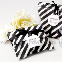 18*13cm 50pcs black stripe paper bag for party wedding Birthday candy sweet Favor Goodie Bags(China)
