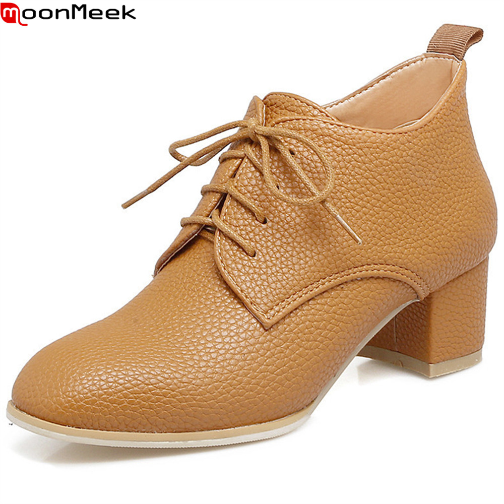 MoonMeek 2018 hot sale new arrive women pumps black white Light brown autumn winter shoes square toe lace up big size 34-45<br>