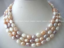 "60"" white pink purple freshwater pearl baroque necklace"