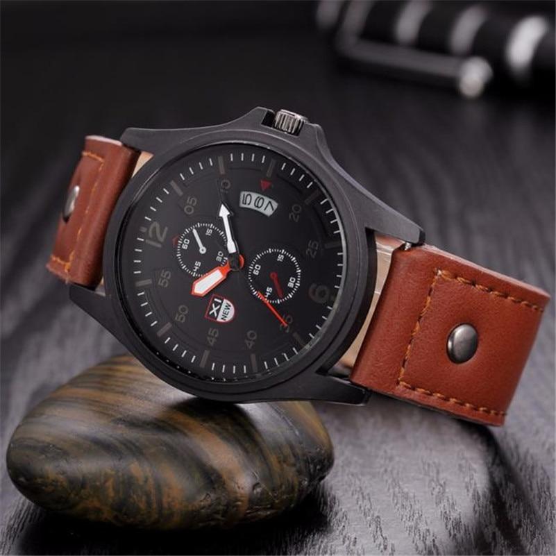 New Fashion Men Sports Watches Mens Quartz Hour Date Clock Man Leather Strap Military Army Waterproof Wrist watch<br><br>Aliexpress