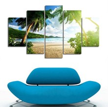 5 piece canvas art New HD Wall Art Beach Palm Tree Group Painting Decoration for Home print poster picture canvas PaintingJ0228