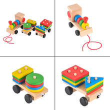 3 Sections Colorful Wood Stacking Train Toys Cute Train Vehicle Toddler Kids Blocks game Children funny early educational toys