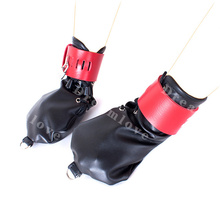 Female Locking Leather Puppy Role Play Fetish Strait Mitts Hand Mitten Gloves with Pad Lock and D Rings Dog Cosplay Fetish Wear(China)