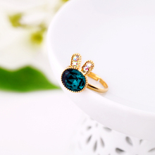 Accessories New gold Color green gem girls rabbit ring adjustable Factory Wholesale