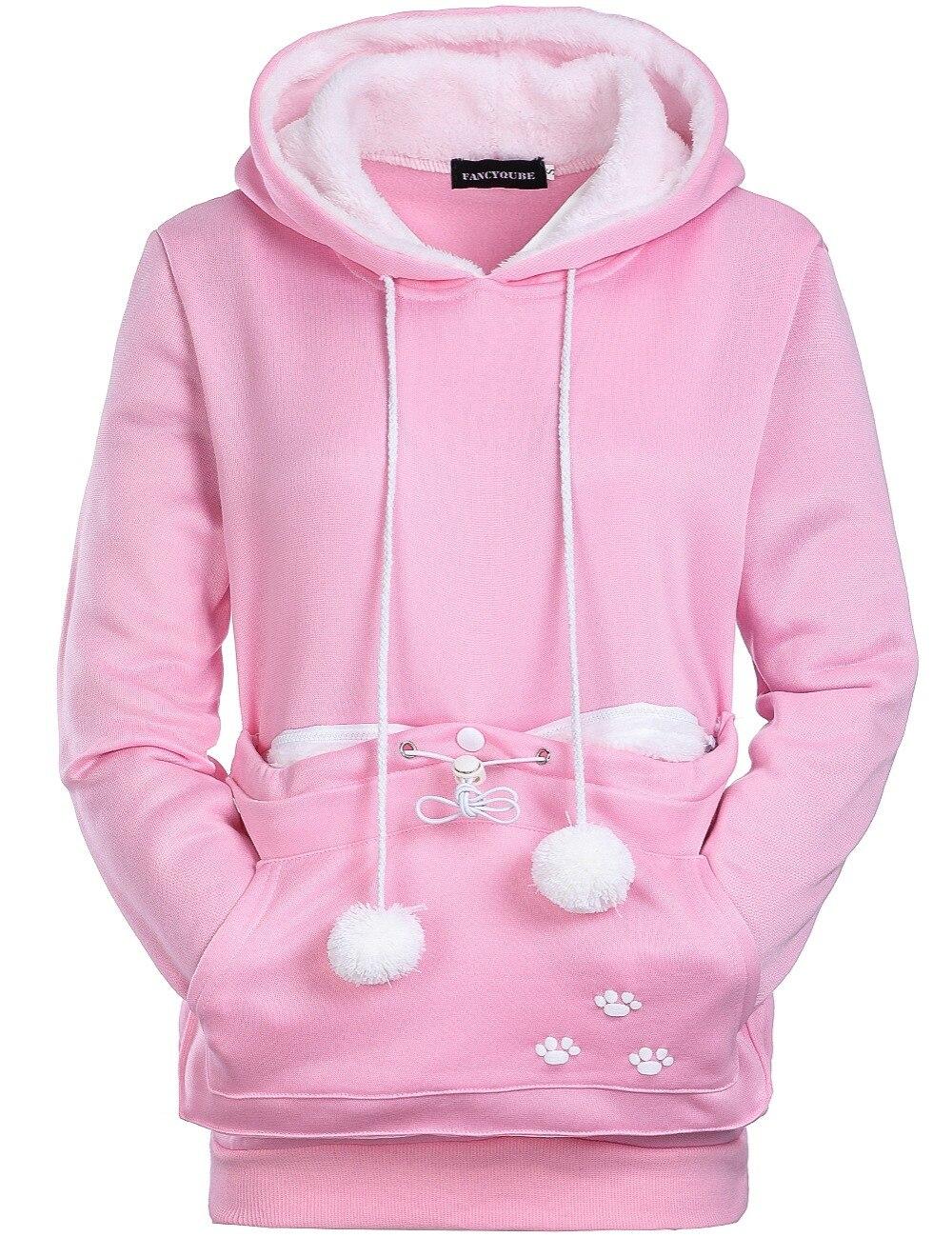 17 New Cartoon Hooded Hoodies Lover Cats Kangaroo Dog Hoodie Long Sleeve Sweatshirt Front Pocket Casual Animal Ear Hoodie 17