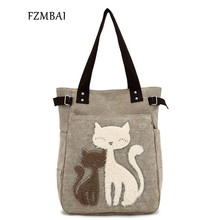 FZMBAI 2017 Fashion Women's Handbag Cute Cat Tote Bag Lady Canvas Bag Shoulder bag(China)